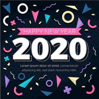 Flat design new year 2020 background