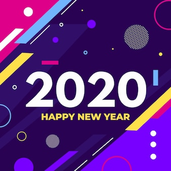 Flat design new year 2020 background