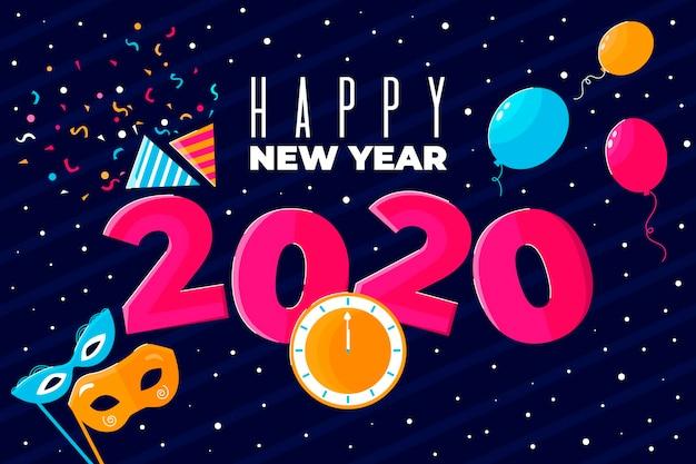 평면 디자인 새 해 2020 배경
