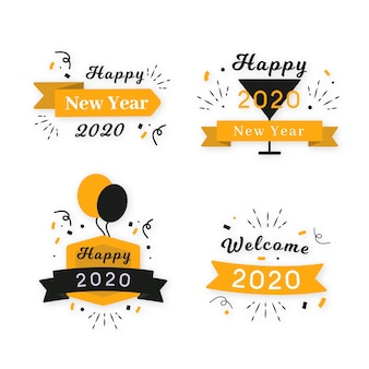 Flat design new year 2020 badge collection