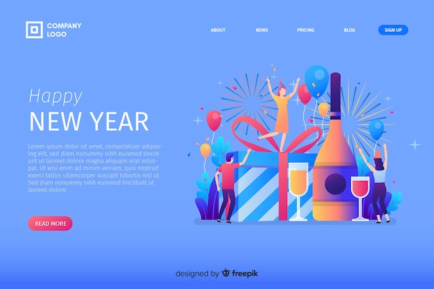 Flat design new year 2020 landing page