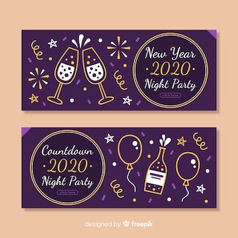 Flat design new year 2020 party banners collection