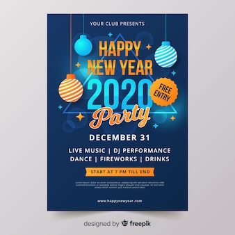 Flat design new year 2020 party flyer