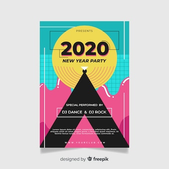 Flat design of new year 2020 party poster template
