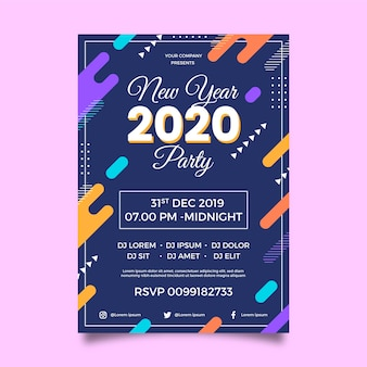 Flat design new year 2020 party poster template