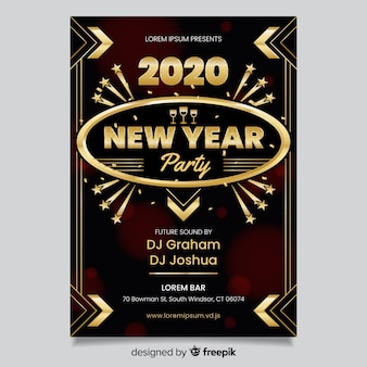 Flat design of new year 2020 party poster
