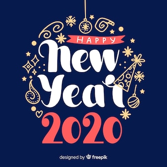 Flat design new year 2020 wallpaper