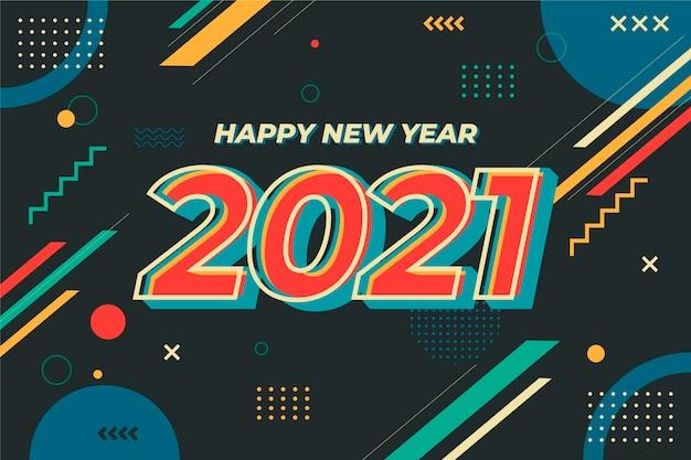 평면 디자인 새 해 2021 배경