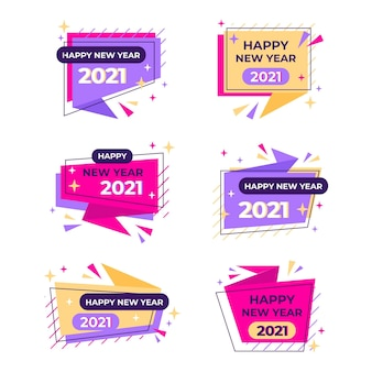 フラットデザイン新年2021バッジコレクション