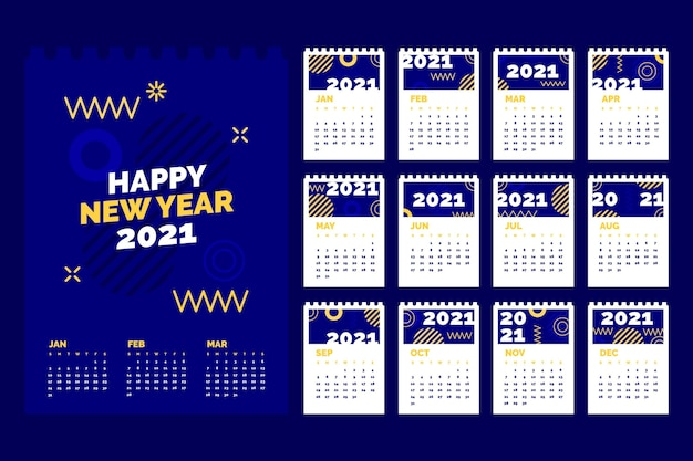 Flat design new year 2021 calendar template