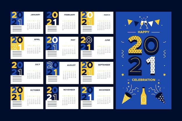 Плоский дизайн новогоднего календаря 2021 года