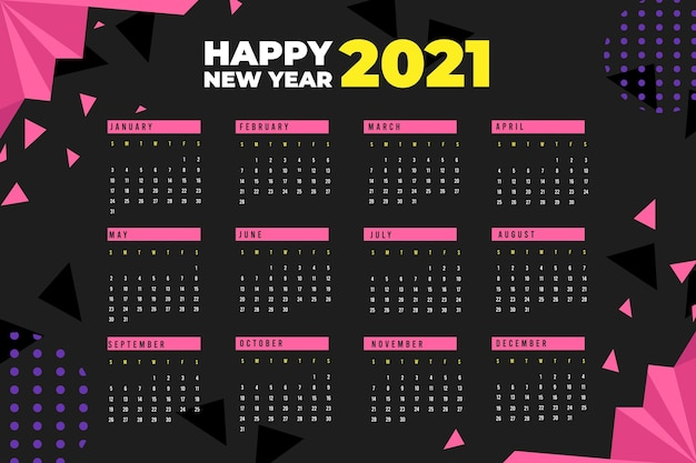 Flat design new year 2021 calendar with polygonal shapes
