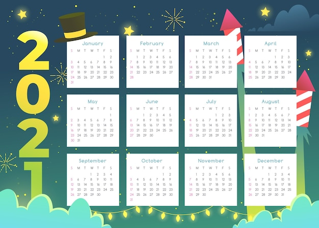 Flat design new year 2021 calendar