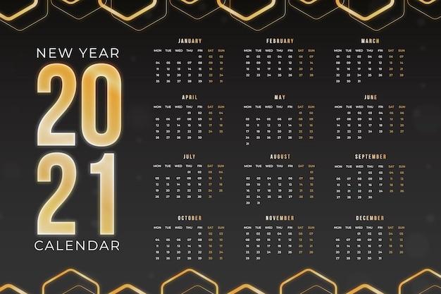 Плоский дизайн новогодний календарь на 2021 год