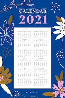 フラットデザイン新年2021年カレンダー