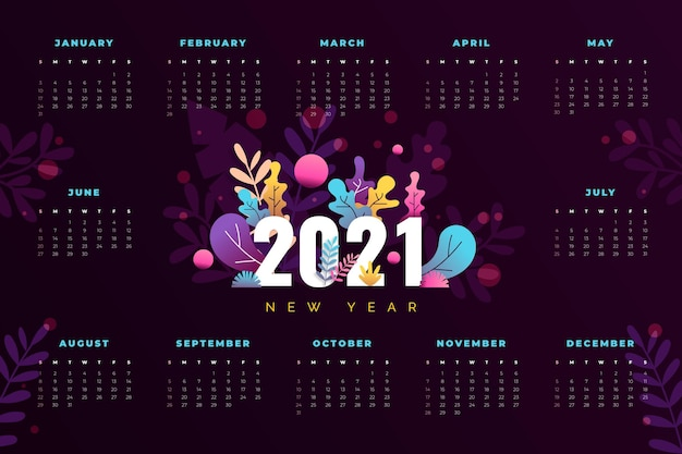 Flat design new year 2021 calendar