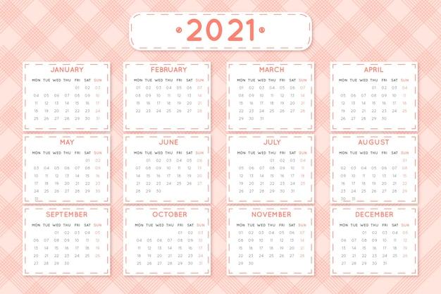 평면 디자인 새해 2021 달력