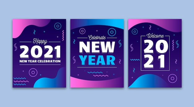 평면 디자인 새해 2021 카드 컬렉션