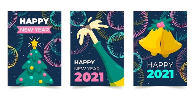 평면 디자인 새해 2021 카드