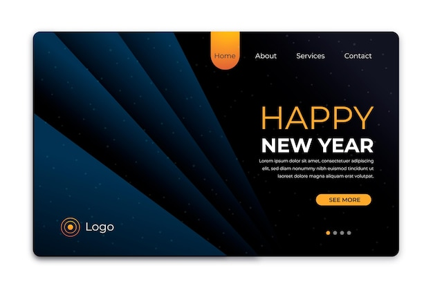 Flat design new year 2021 landing page template
