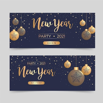 Flat design new year 2021 party banners set