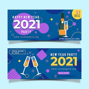 Flat design new year 2021 party banners template
