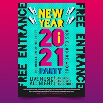 Flat design new year 2021 party poster template