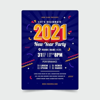 フラットデザイン新年2021パーティーポスターテンプレート
