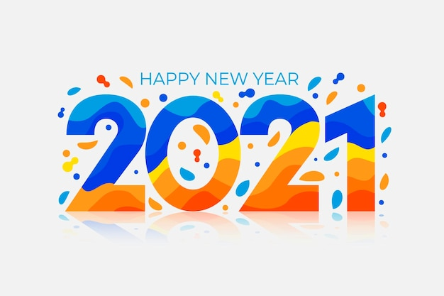 Flat design new year 2021