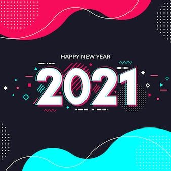 フラットデザイン新年2021