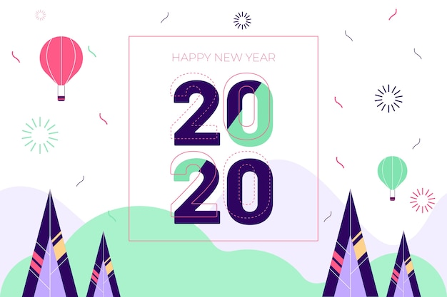 Flat design new year background