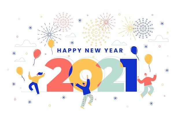 フラットなデザインの新年の背景