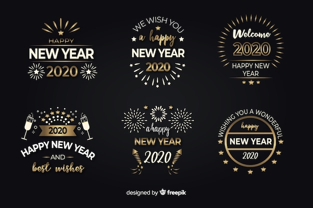 Flat design new year badge collection