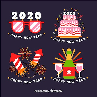 Flat design new year label collection