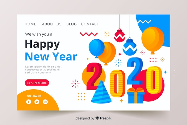 Flat design new year landing page for 2020
