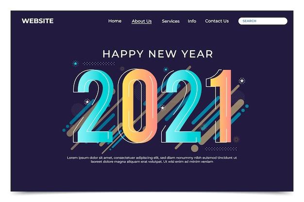Modello di pagina di destinazione del nuovo anno design piatto