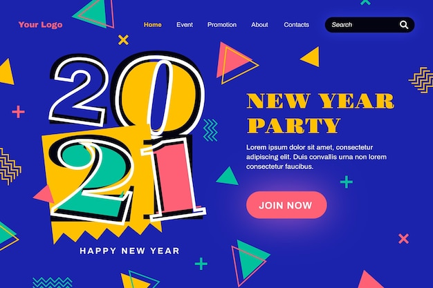 Flat design new year landing page template