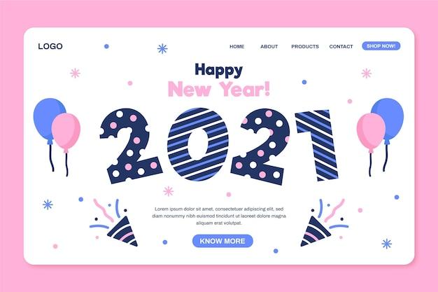 フラットデザインの新年のランディングページテンプレート