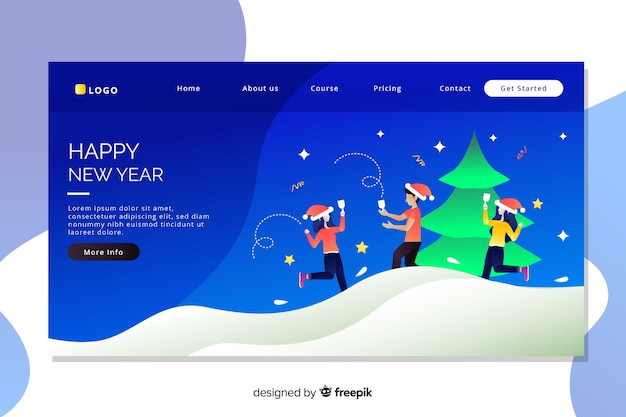 Flat design of new year landing page
