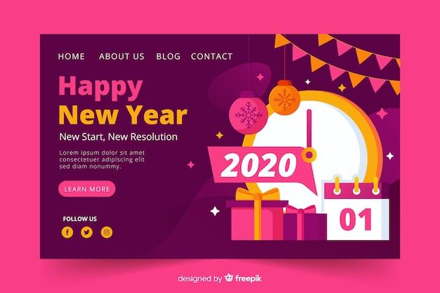 Flat design new year landing page