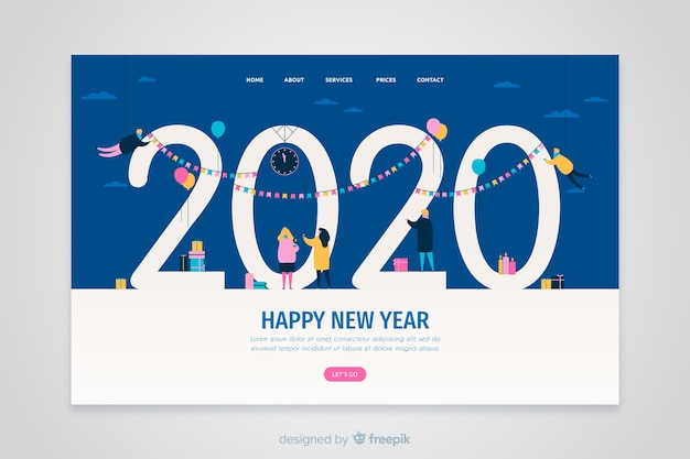 Flat design new year landing page