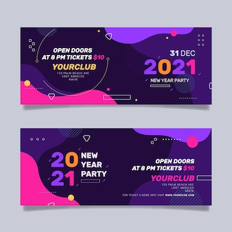 Flat design new year party banners template