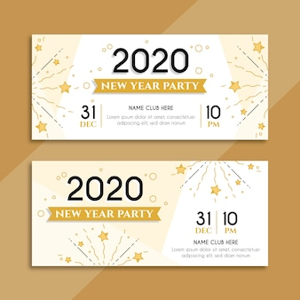 Flat design new year party banners