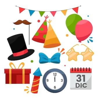 Collezione di elementi di festa di capodanno design piatto