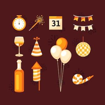 평면 디자인 새 해 파티 요소 컬렉션