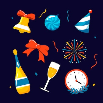 Flat design new year party element collection