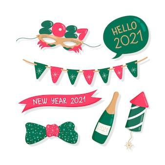 フラットなデザインの新年パーティー要素セット