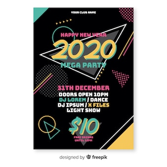 Flat design new year party poster template