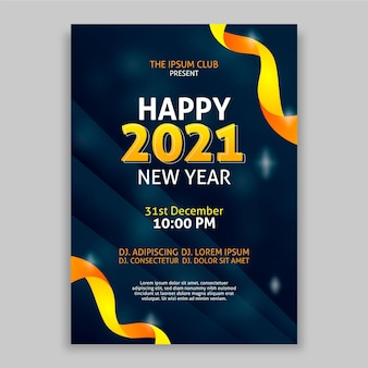 평면 디자인 신년 파티 포스터 템플릿