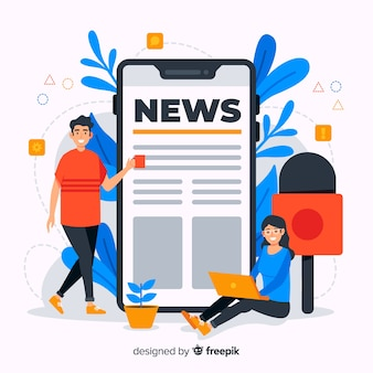 Flat design news concept illustration